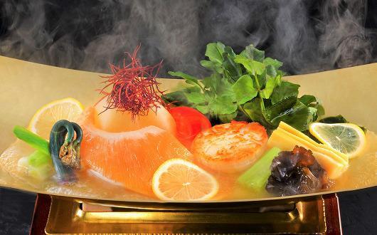 フカヒレと帆立と季節の山菜 レモンスープで味わう ~ 4月の吟味特撰 ~