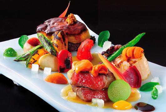 仙台牛とフレッシュ・フォア・グラと帆立 色とりどりの夏野菜   ~ 8月の吟味特撰 ~