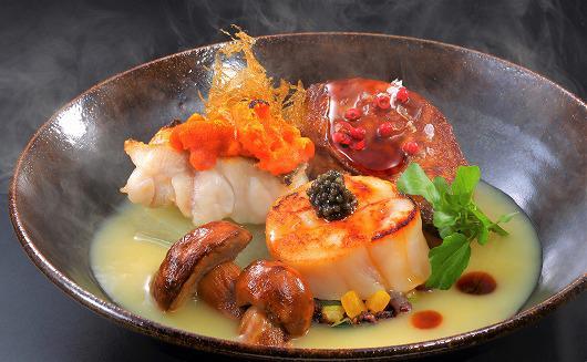 甘鯛雲丹焼 和栗のスープ仕立て 極上帆立とフォアグラ添え