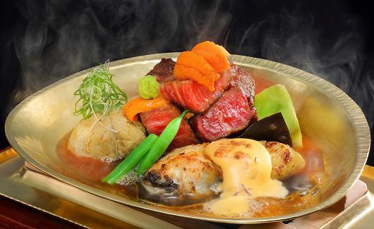 仙台牛フィレ岩牡蠣美味出汁と岩牡蠣の和風ベアルネーズソース焼 ~ 7月の吟味特撰 ~